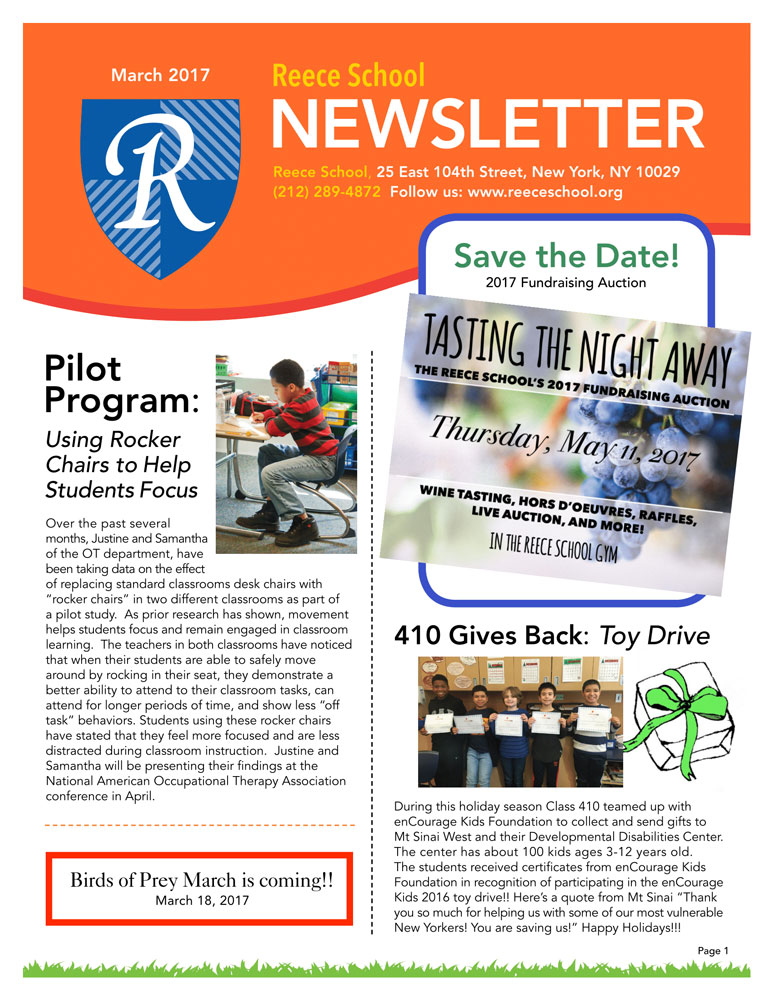 Newsletter Page 1, Pilot Program, Birds of Prey Day, Fundraising