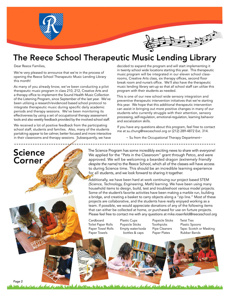 Newsletter Page 2, Therapeutic Music Lending Library, Science Corner