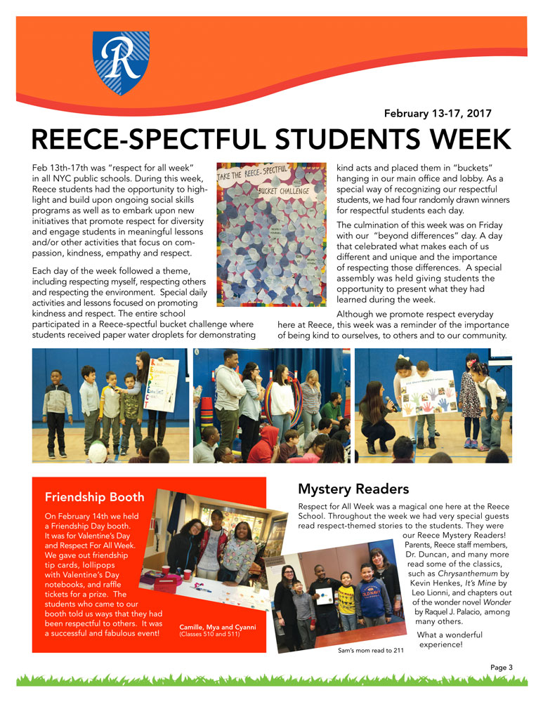Newsletter Page 3, Reece-spect, Friendship Booth, Mystery Readers