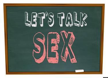 Chalkboard that reads Let's Talk Sex