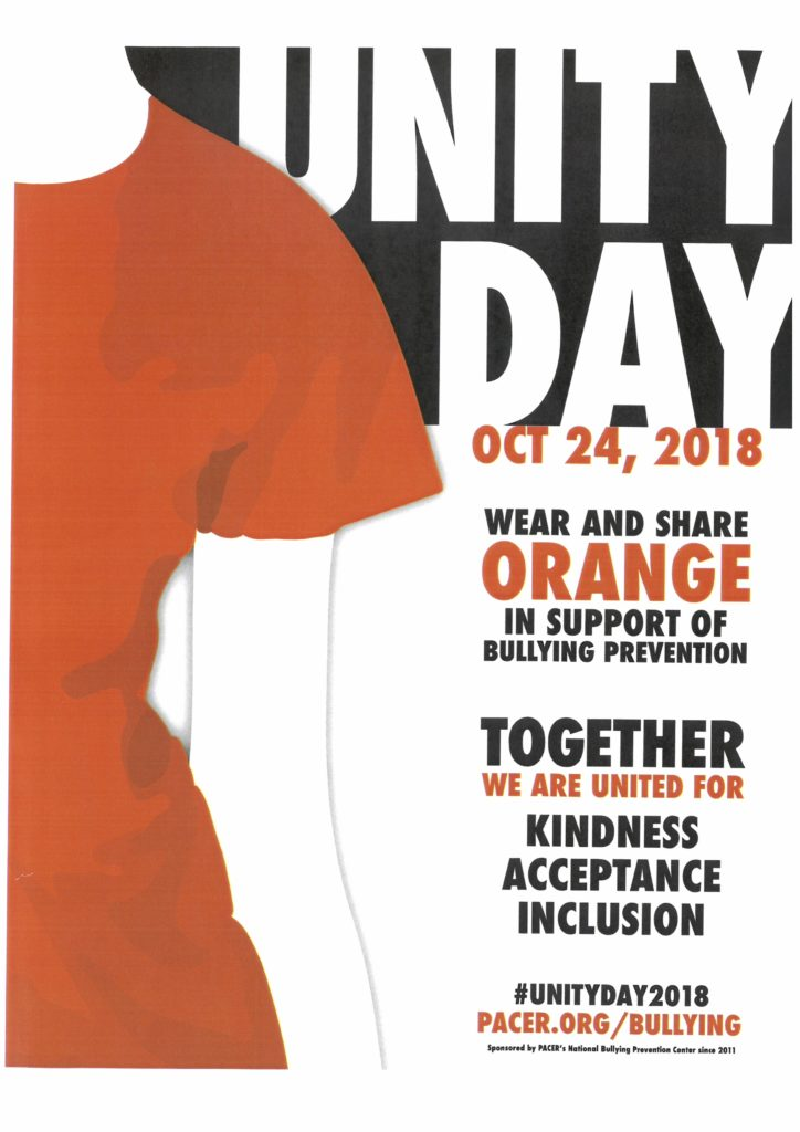 Unity Day October 24, 2018! Wear and share orange in support of bullying prevention. Together we are united for: Kindness, Acceptance, Inclusion. #unityday2018