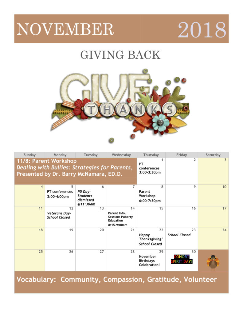 NOVEMBER 2018, GIVING BACK, Vocabulary: Community, Compassion, Gratitude, Volunteer