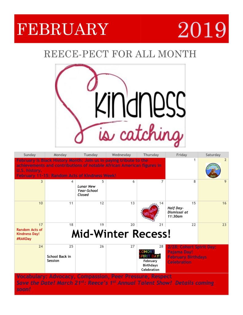 Show February 2019 Calendar February 2019 Family Calendar: Reece pect For All Month