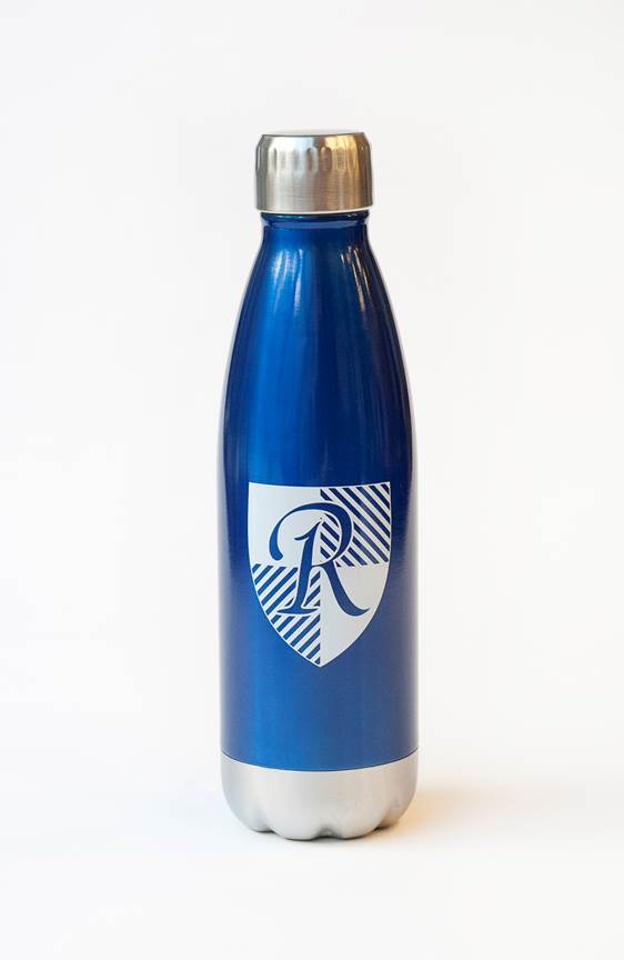 blue water bottle with reece school logo