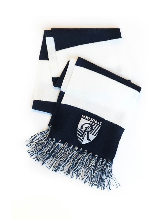 blue and white scarf with reece school logo