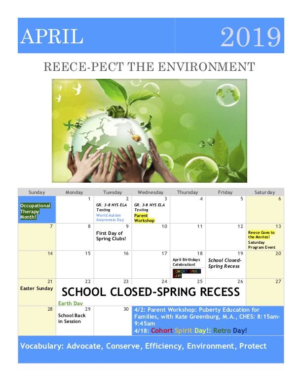 April 2019 Family Calendar: Reece-pect The Environment Month