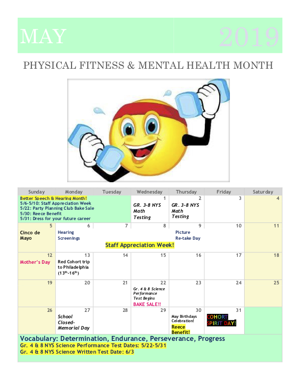 May 2019 Family Calendar: Physical Fitness & Metal Health Month