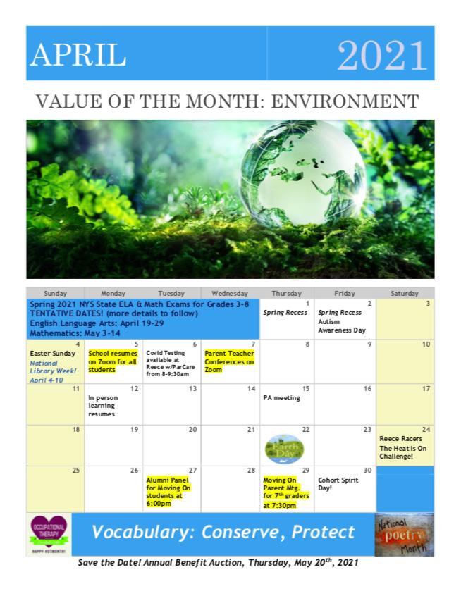 April School calendar events